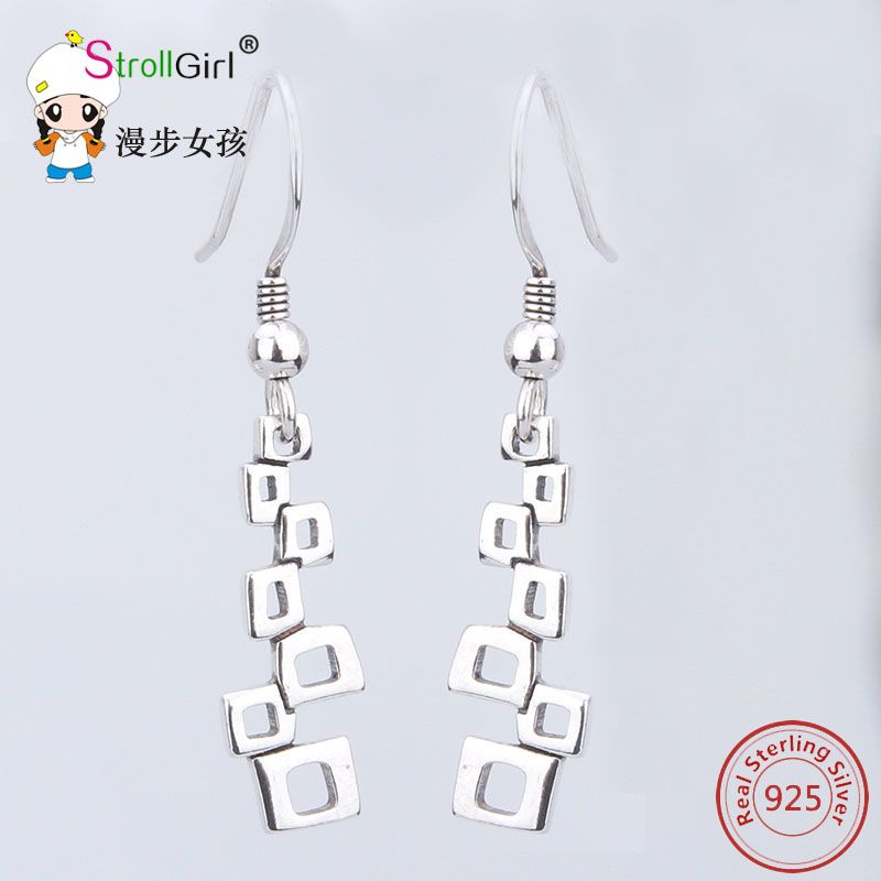 Hot Selling Earrings Authentic Sterling-silver-jewelry Dongle Long Irregular Square Earring for Women Fashion High Quality