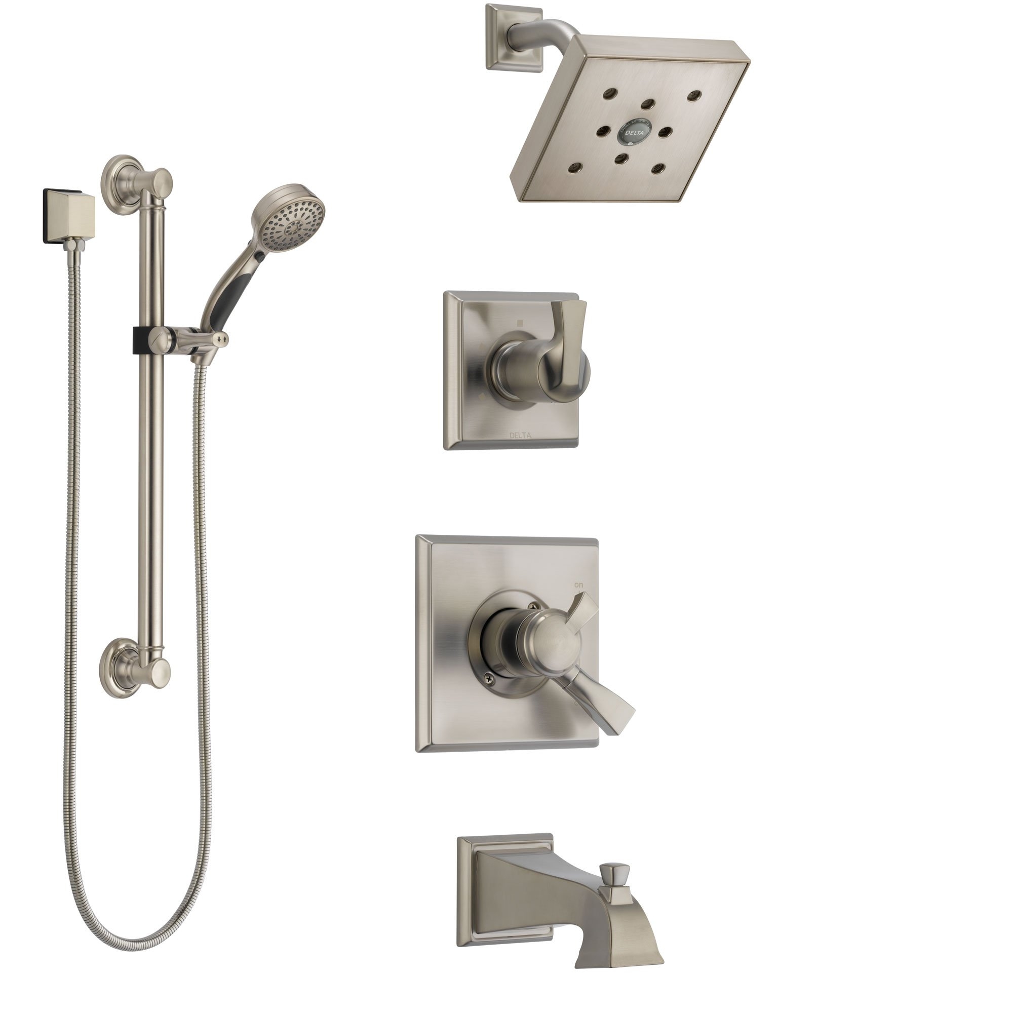 Delta Dryden Stainless Steel Finish Tub And Shower System With
