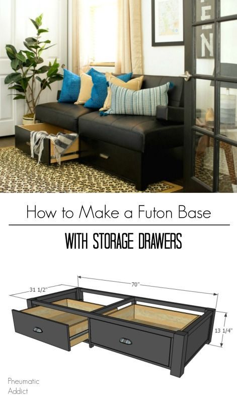 How To Build A Futon Base With Storage Drawers Diy Futon Futon Living Room Diy Furniture Projects