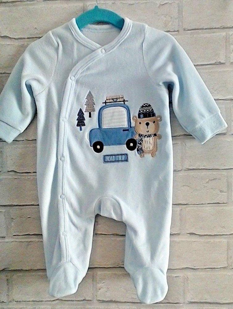 Baby boy velour sleepsuit babygro all in one BLUE