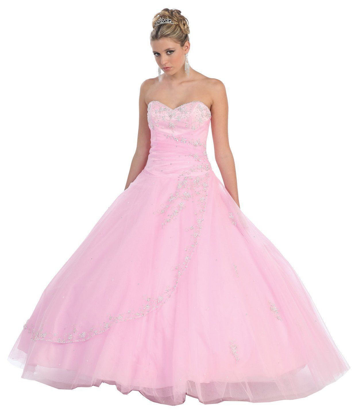 Quinceanera Strapless Tulle Prom Long Ball Gown Dress - The Dress ...