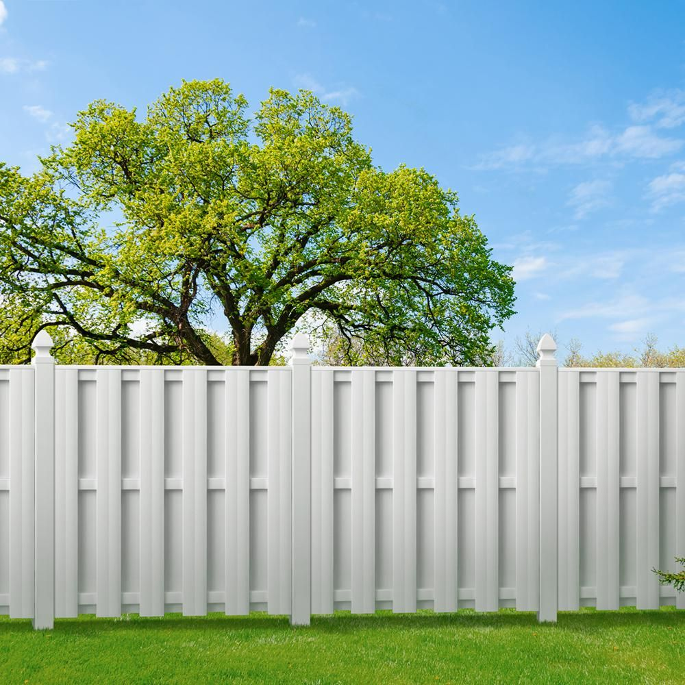 Veranda Palatine 6 Ft H X 6 Ft W White Vinyl Shadowbox Fence Panel Unassembled 128013 The Home Depot In 2020 White Vinyl Fence Vinyl Fence Panels Vinyl Privacy Fence