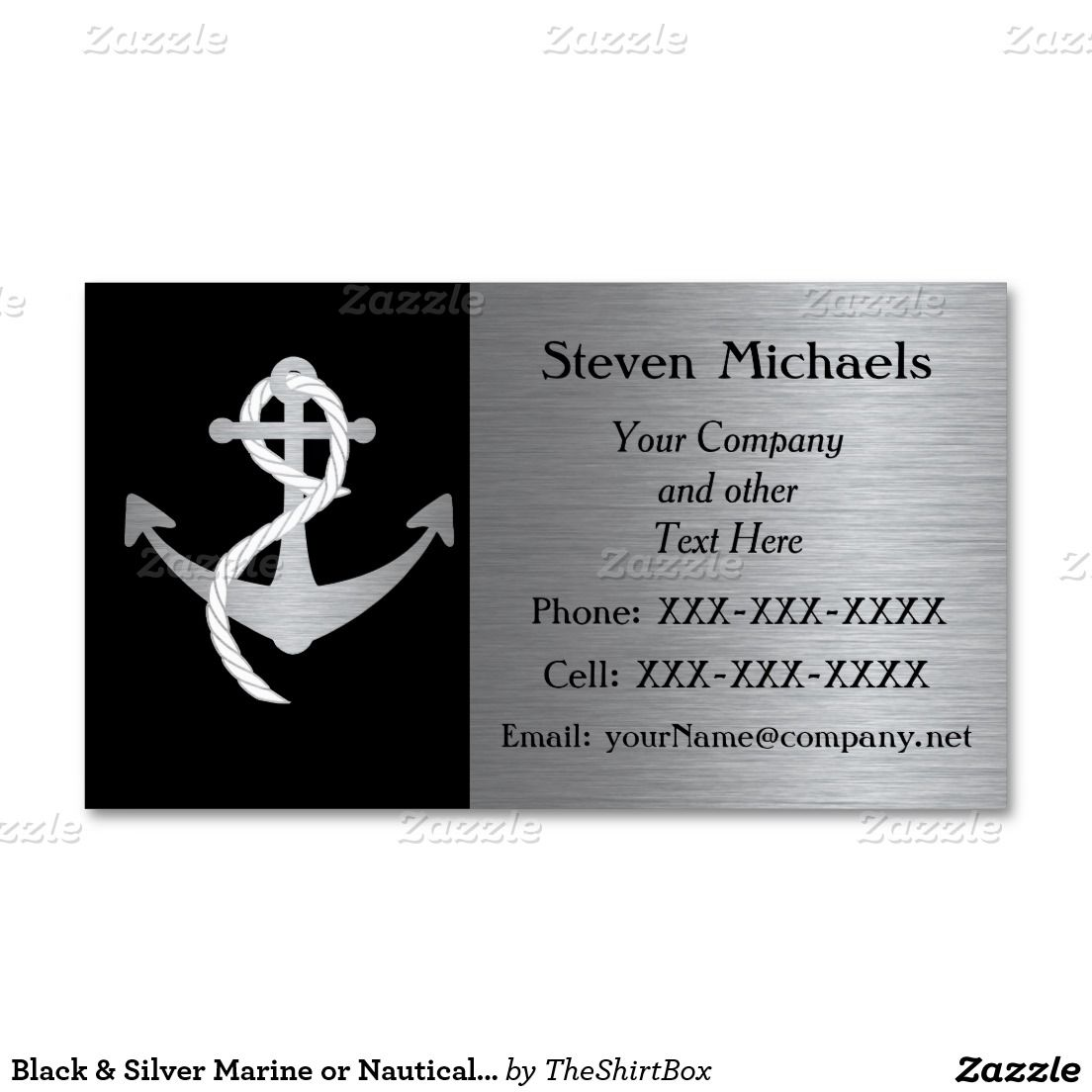 Black & Silver Marine or Nautical Business Card | Nautical Business ...