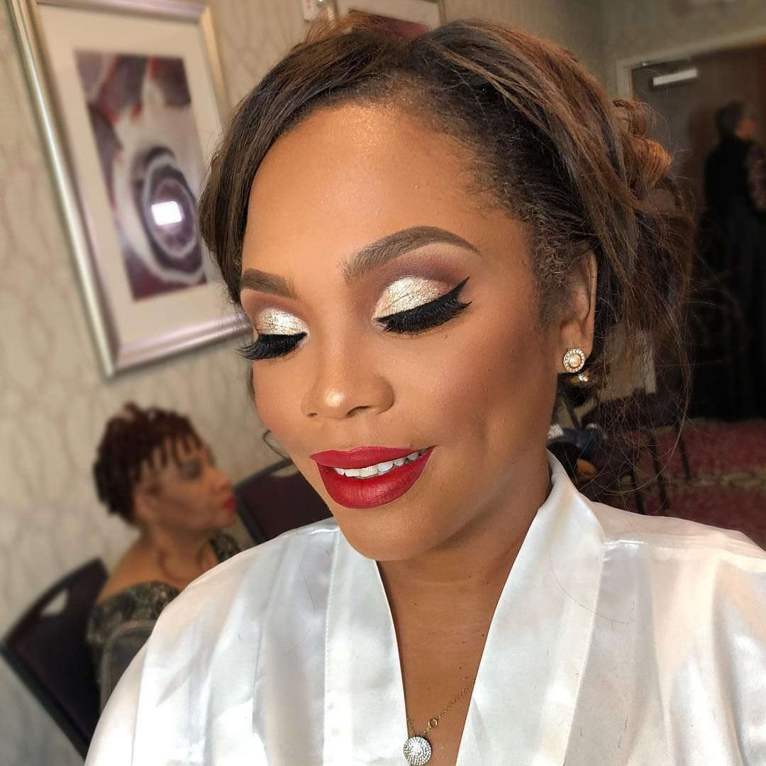 Bold Eyes Red Lip Bridal Makeup On Black Women By