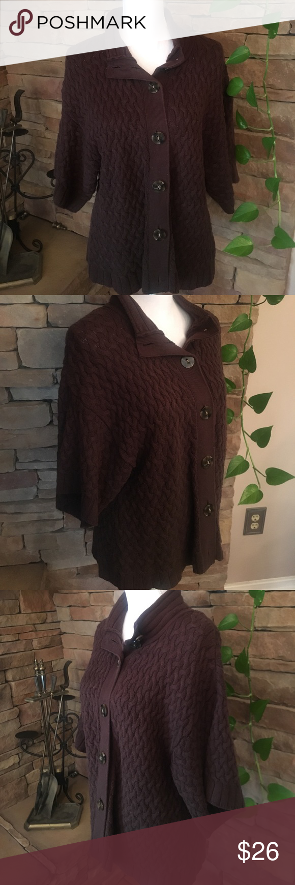 Chocolate Brown Cardigan Sweater | Chocolate brown, Brown and ...