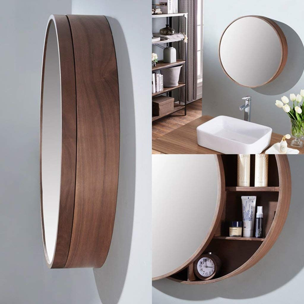 Runde Wandspiegel Fur Badezimmer Spiegelschrank Push Pull Schliessfacher Walnuss Holz 50 50 Cm Ama Badezimmer Spiegelschrank Spiegelschrank Badezimmerspiegel