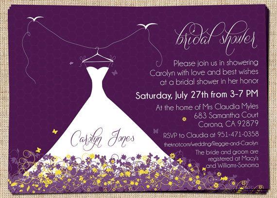 Free Wedding Shower Invitations: Bridal Shower Invitation (Elegant Wedding Dress) Printable