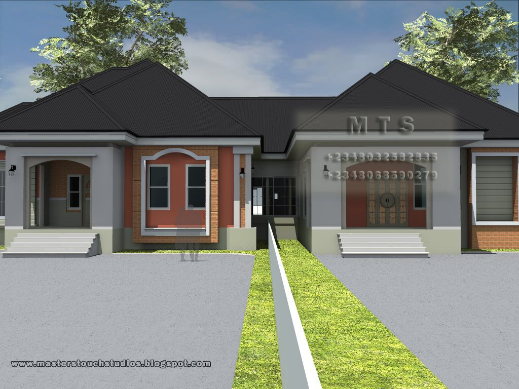 3 Bedroom Twin Bungalow Residential Homes And Public Designs Bungalow House Plans Modern House Plans Bungalow Floor Plans