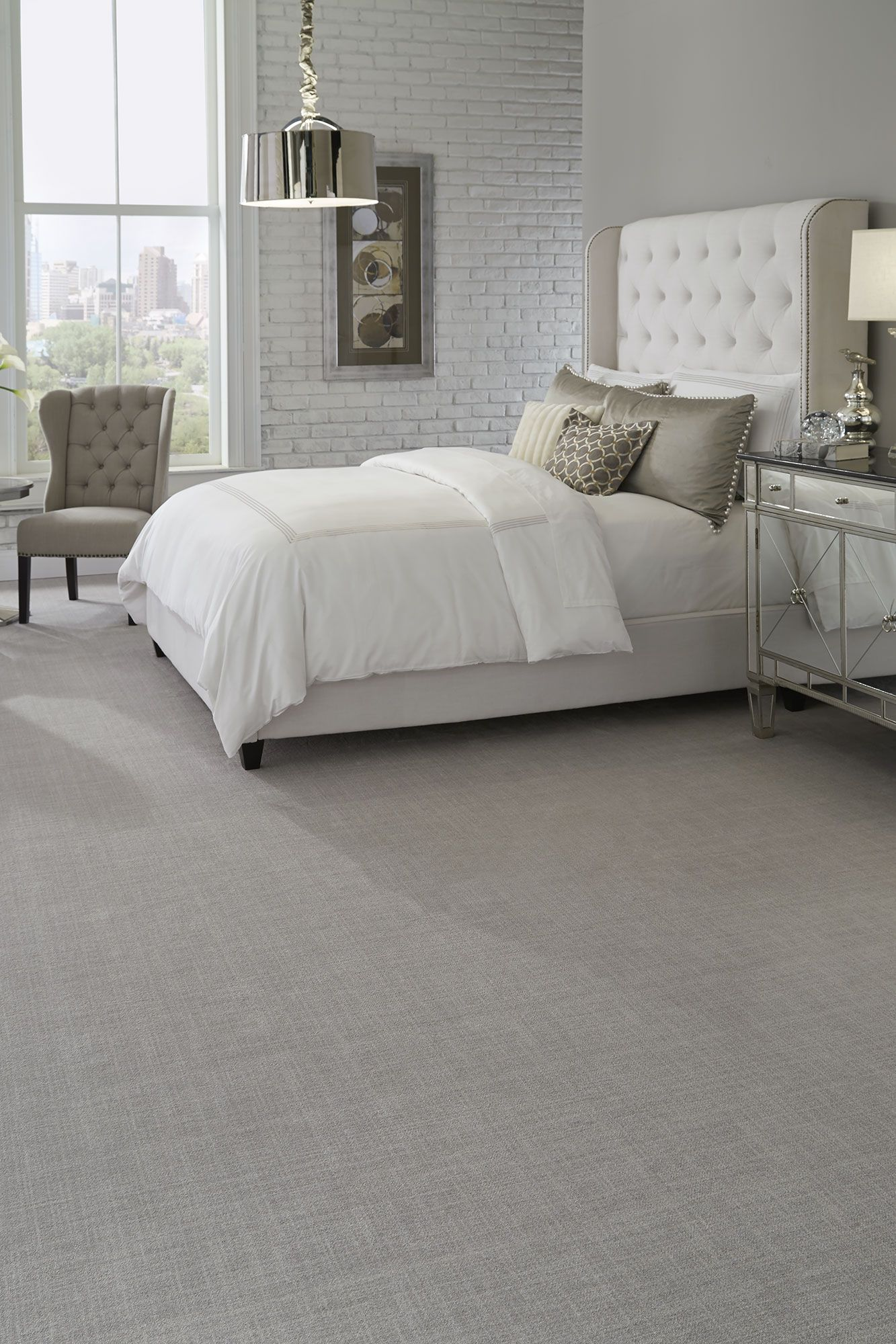 Brushed Linen Patterned Carpet Bedroom Ideas Neutral