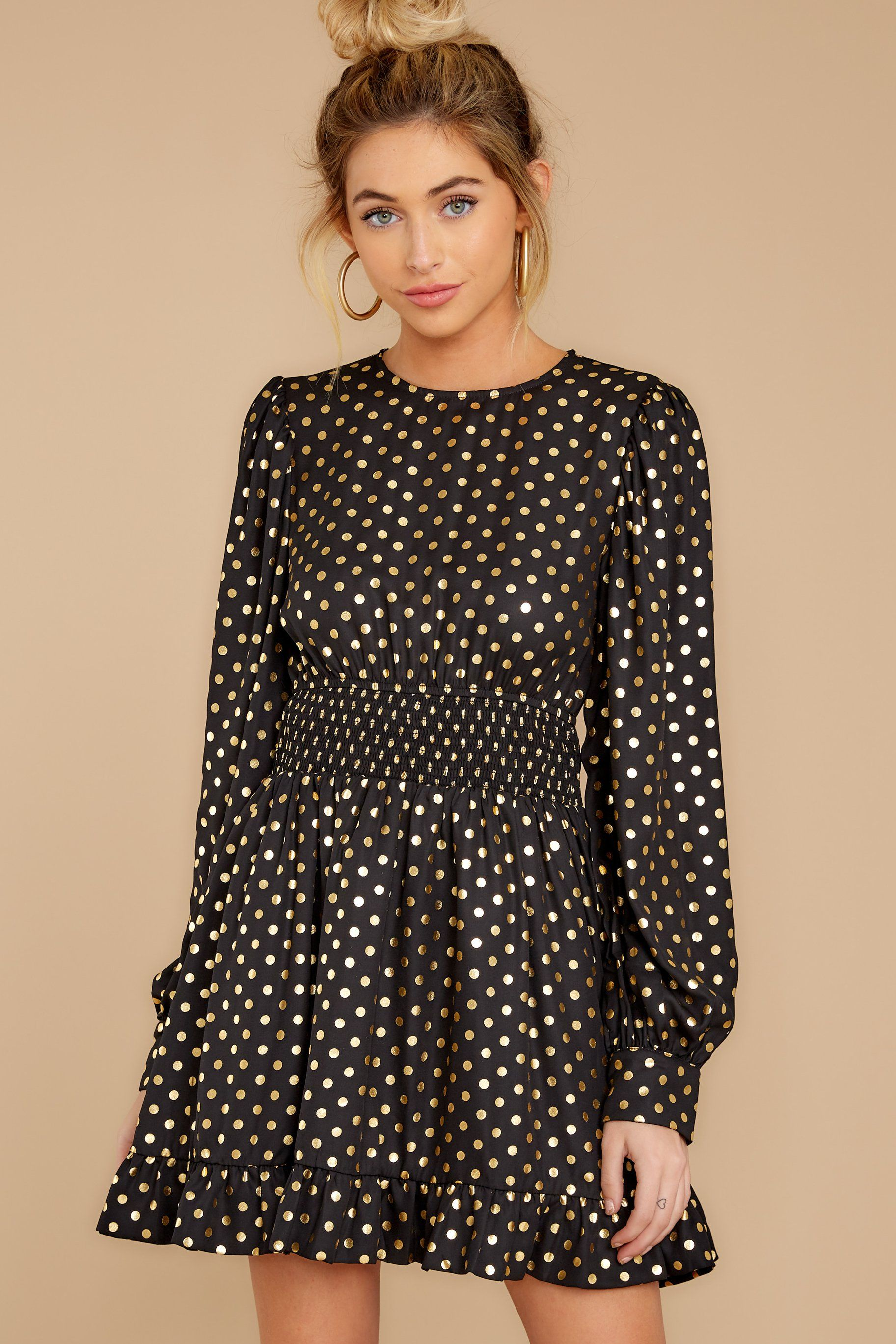 Soiree Standout Black And Gold Polka Dot Dress Sassy Dress Polka Dot Dress Dresses [ 2738 x 1825 Pixel ]