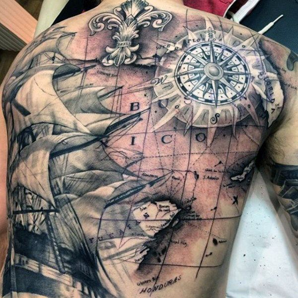 Pirate Ship Treasure Map Tattoo For Men | kompass tattoo ...