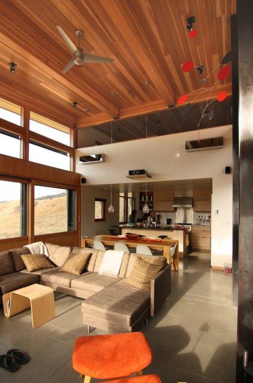 Cedar Ceilings Love Them Modern Living Room Open Kitchen And Living Room High Ceiling Design