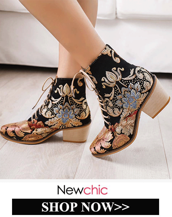 Women Pointed Toe Embroidered Lace Up Block Heel S