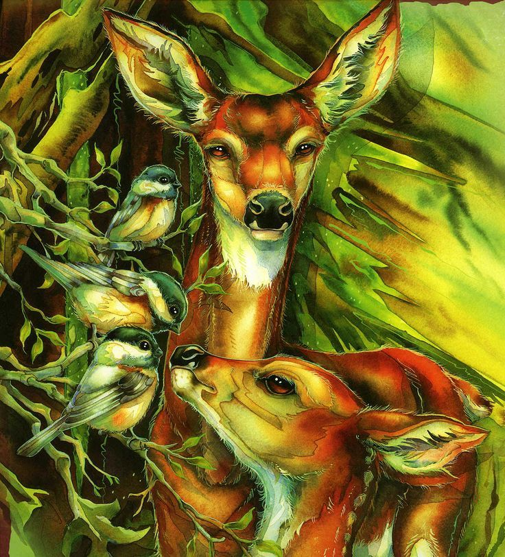 Both Deer oil painting and drawings are beautiful artworks for wall ...