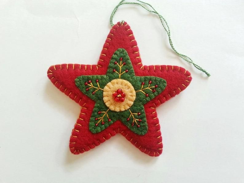 Christmas Tree Ornaments, Star Christmas Ornaments, Wool Felt Star Ornaments, Felt Christmas Ornaments, Folk Art Christmas Ornaments