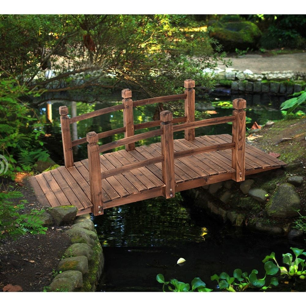 Costway 5\' Wooden Bridge Stained Finish Decorative Solid Wood Garden ...