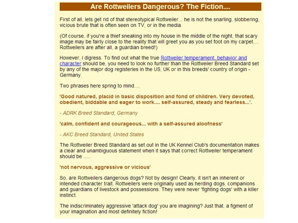 Rottweiler breed disposition