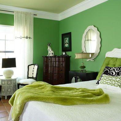 Eclectic Bedroom Green Walls Design Green Room Colors Green Bedroom Design Lime Green Bedrooms