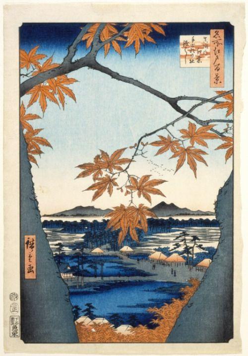'Maple Trees at Mama, Tekona Shrine and Linked Bridge' (1857). Woodblock print by Utagawa Hiroshige (Japan, Edo, 1797-1858).Japanese ArtImage and text courtesy LACMA