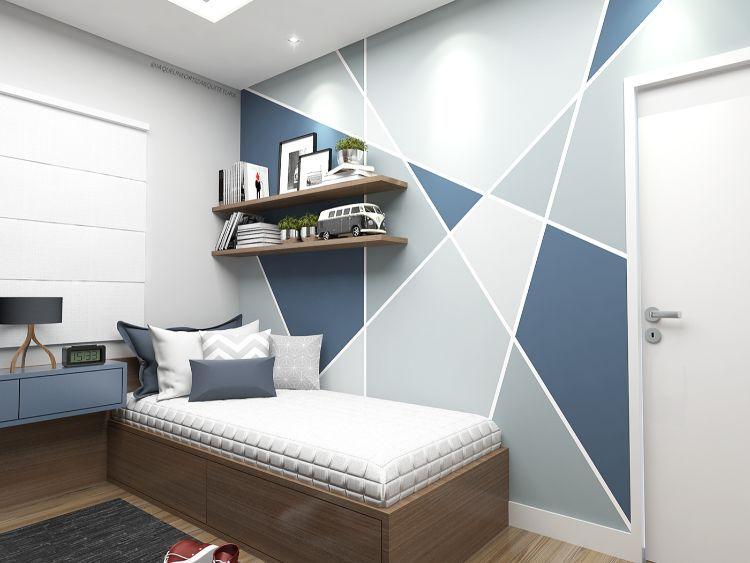 peinture murale g om trique pour une d co pleine de. Black Bedroom Furniture Sets. Home Design Ideas