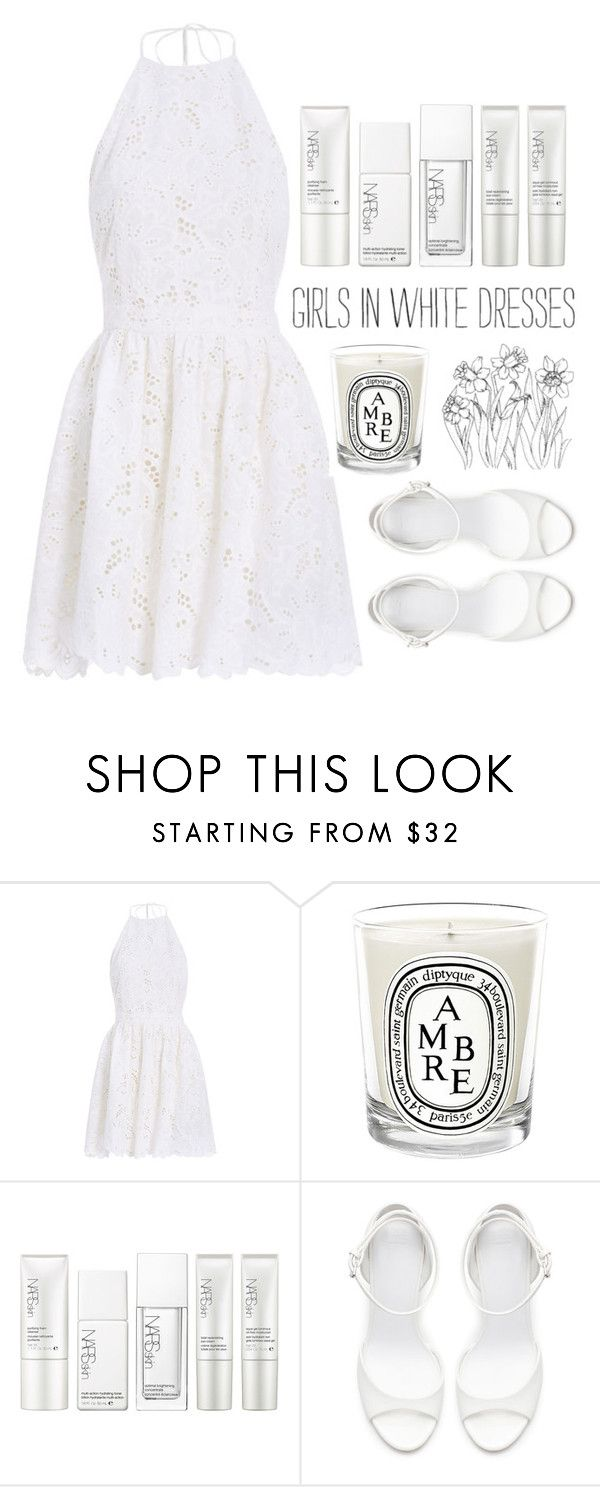 """girls in white dresses"" by mackenziehoffman ❤ liked on Polyvore featuring Zimmermann, Diptyque, NARS Cosmetics and Zara"