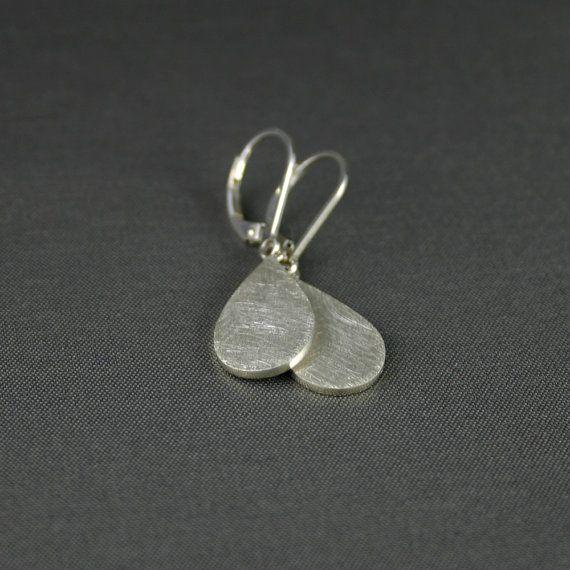 Hangende oorbellen, zilver, druppelvormig