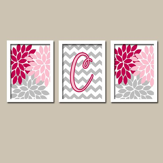 Pink Gray Monogram Flower Burst Letter Initial Set of 3 Trio Prints Chevron Wall Decor Abstract Art Bedroom Picture Nursery