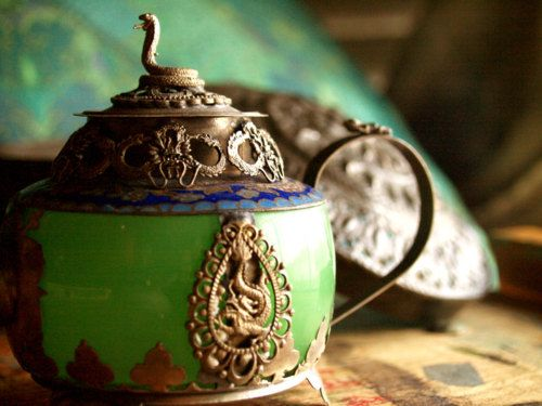 Antique Teapot and Stash Tin from Tibet.  Love!