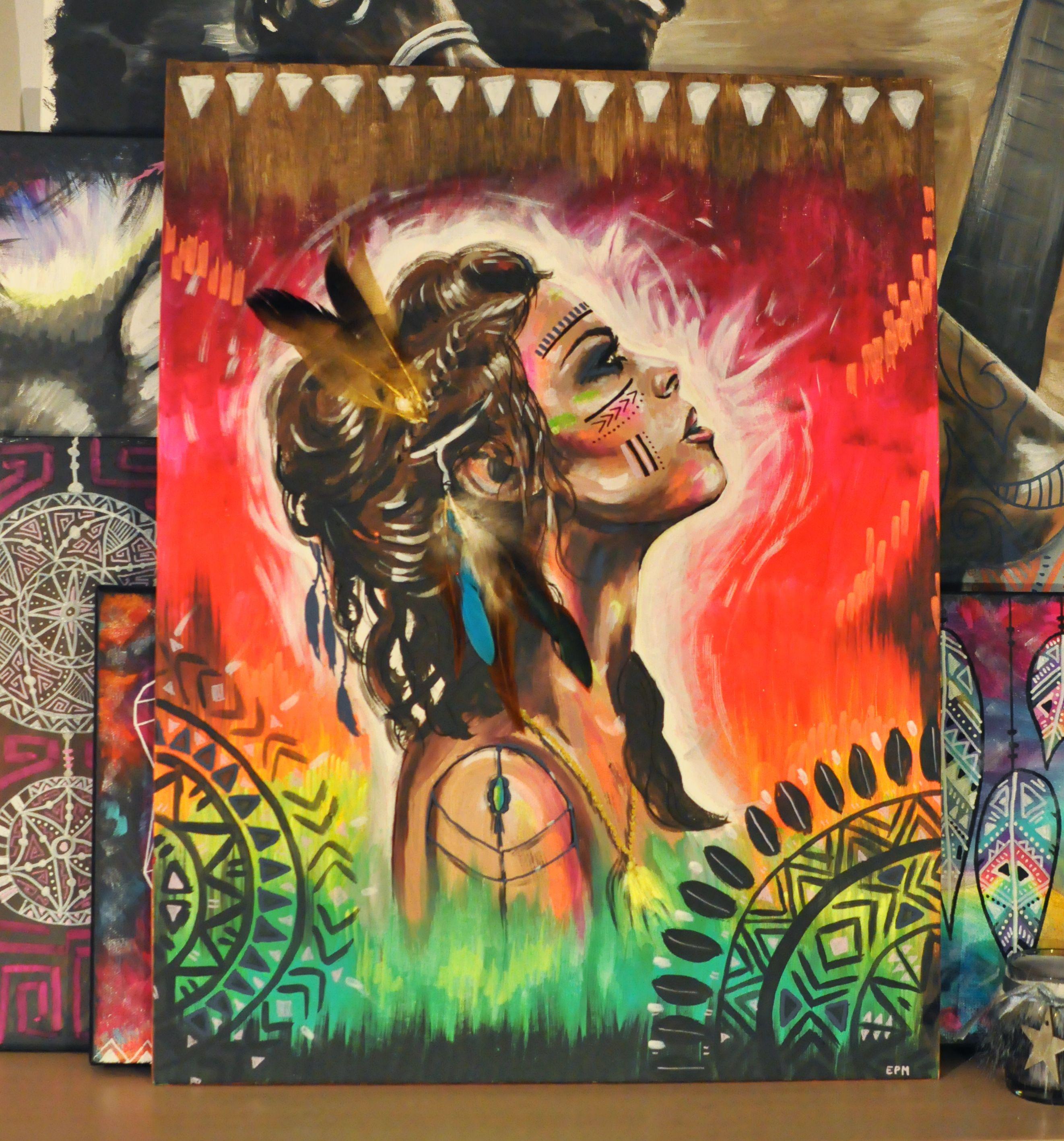 Eva Lubart - portrait indienne bohème gipsy http://www.alittlemarket.com/peintures/eva_lubart_portrait_indienne_gipsy_bohemienne_vraies_plumes-12750261.html