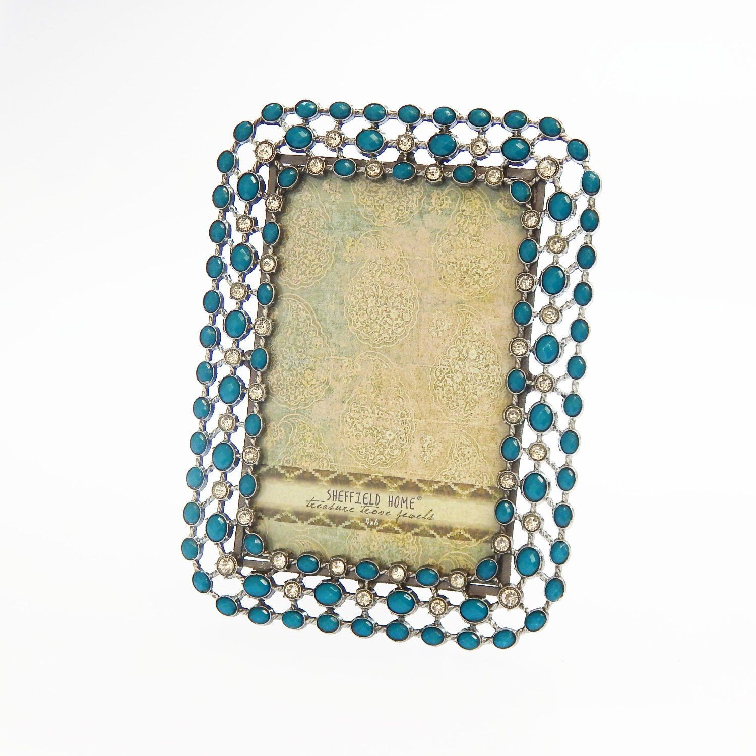 Rhinestone Jeweled Silver Turquoise Blue 4 x 6 Picture Frame Vintage Antique Look