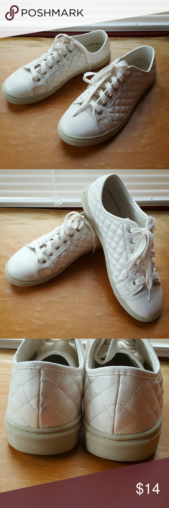Madden Girl quilted white sneakers in