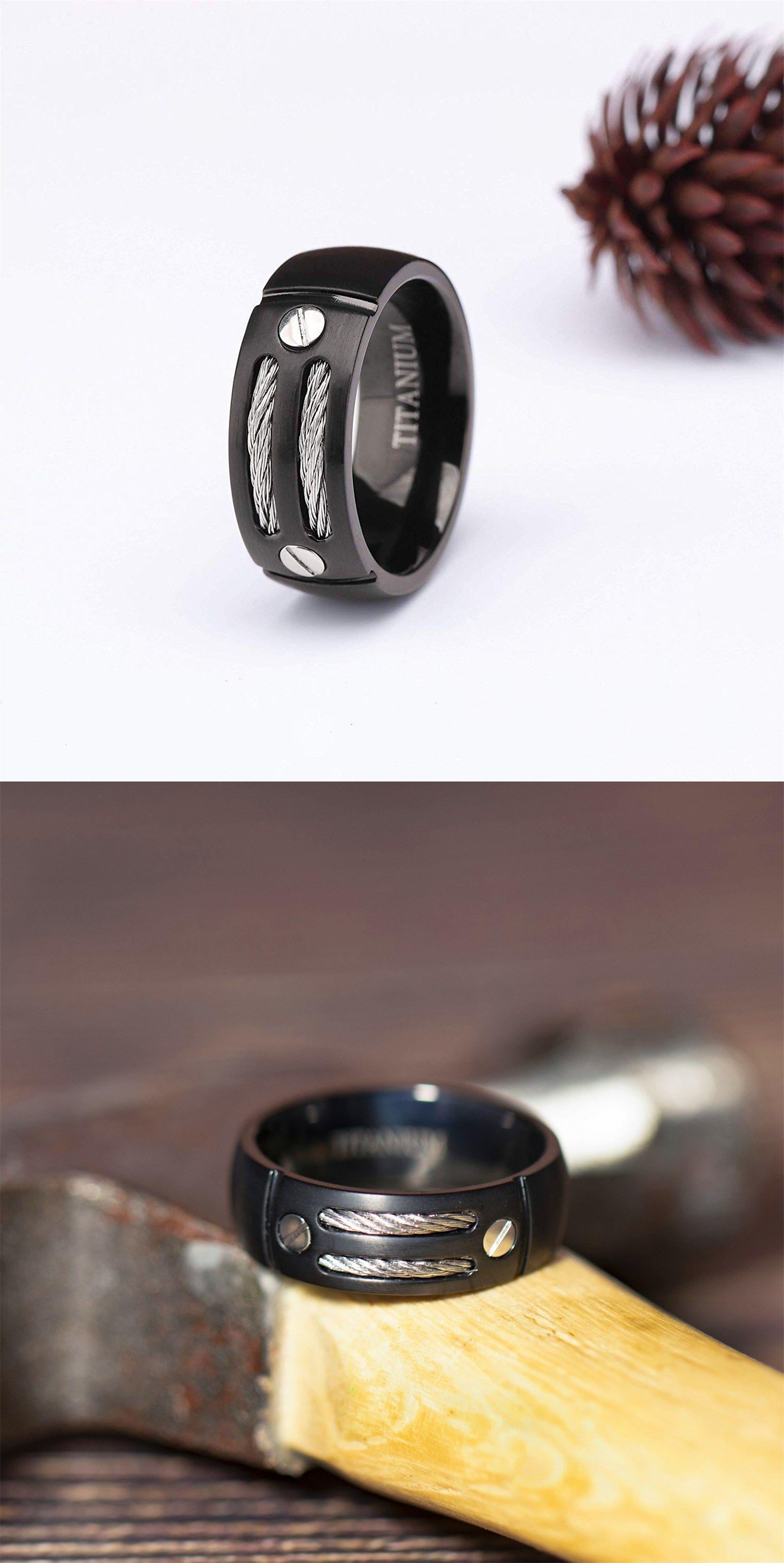 Black Titanium Cable Rings Mens Fashion Rings Comfort Fit Silver Ring Designs Mens Rings Fashion Mens Ring Designs
