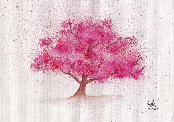 Watercolor Painting Of A Sakura Tree Cherry Blossoms Made To Order Tree Watercolor Painting Sakura Tree Watercolor Trees