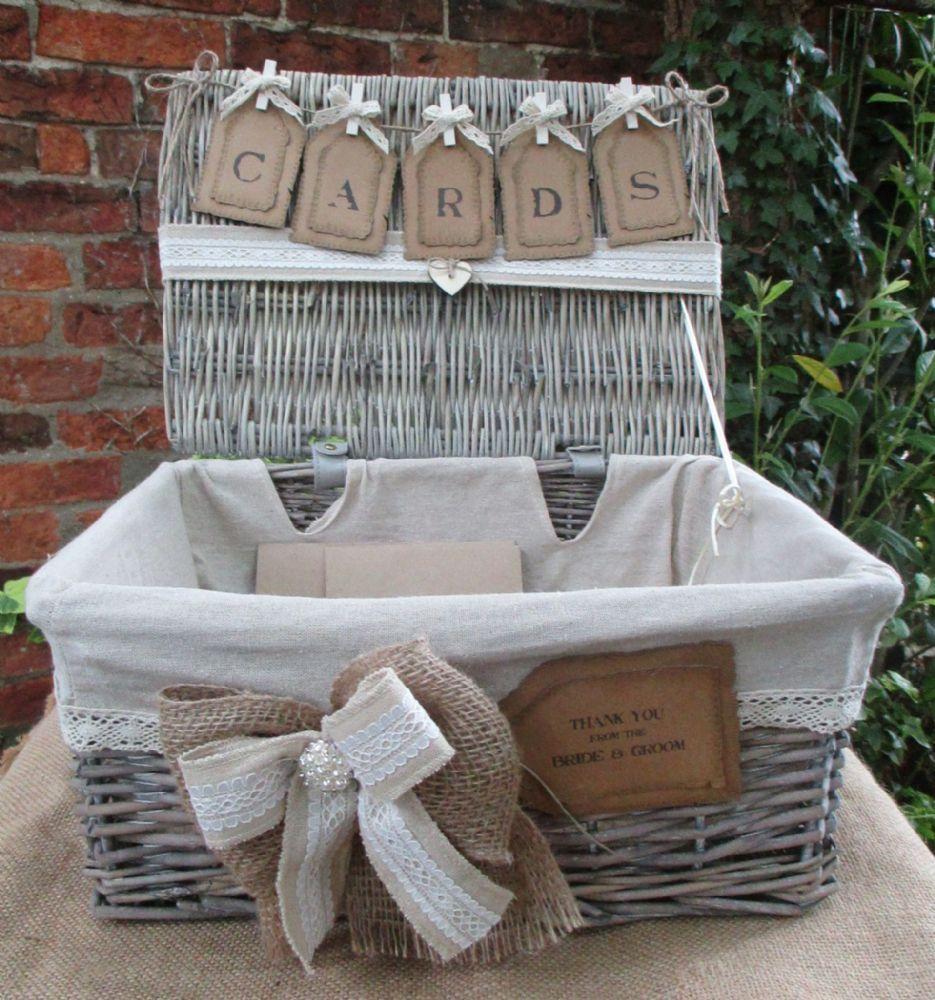 Post Wedding Gifts: Wedding Card Post Box Grey Wash Wicker Hamper Wedding Card