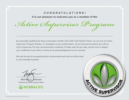 Active Supervisor Program Certificate Herbalife Herbalife Business Herbalife Nutrition