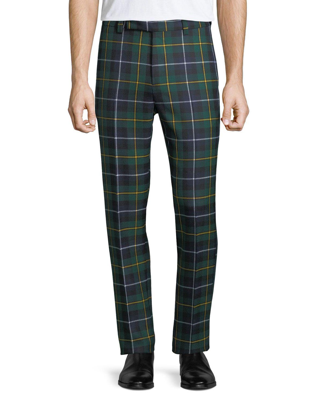99568c97 VERSACE MEN'S TARTAN PLAID SIDE-STRIP CROPPED PANTS. #versace #cloth ...