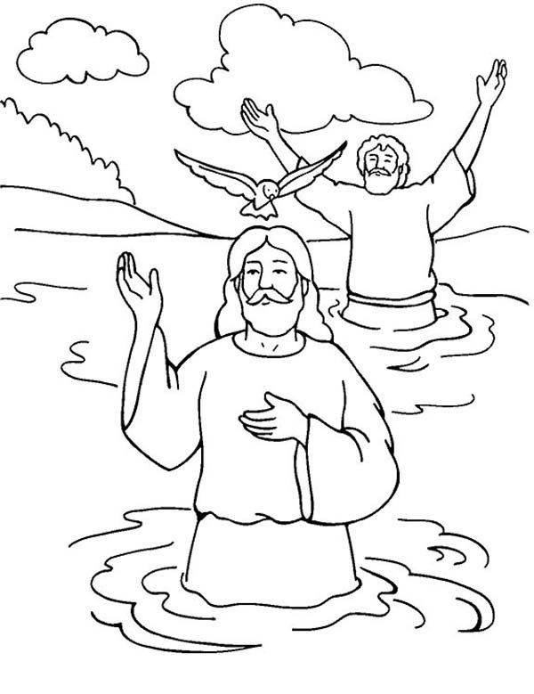 Jesus Baptism With Holy Spirit In John The Baptist Coloring Page Jpg 600 779 Jesus Coloring Pages Bible Coloring Pages Coloring Pages