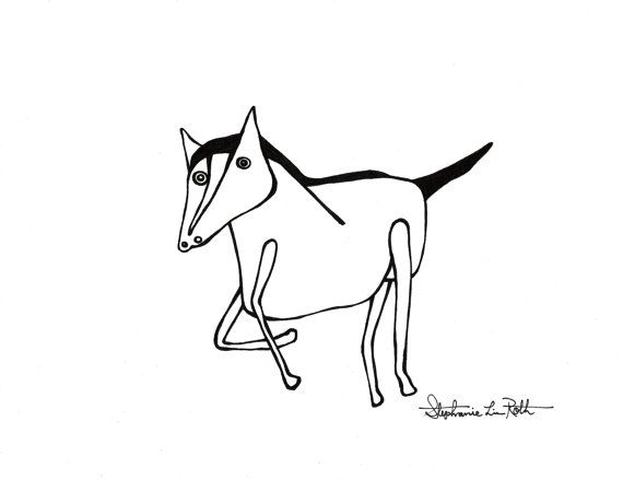 Running Horse in Black Ink on White Paper: Original Drawing SALE on Etsy, $15.00