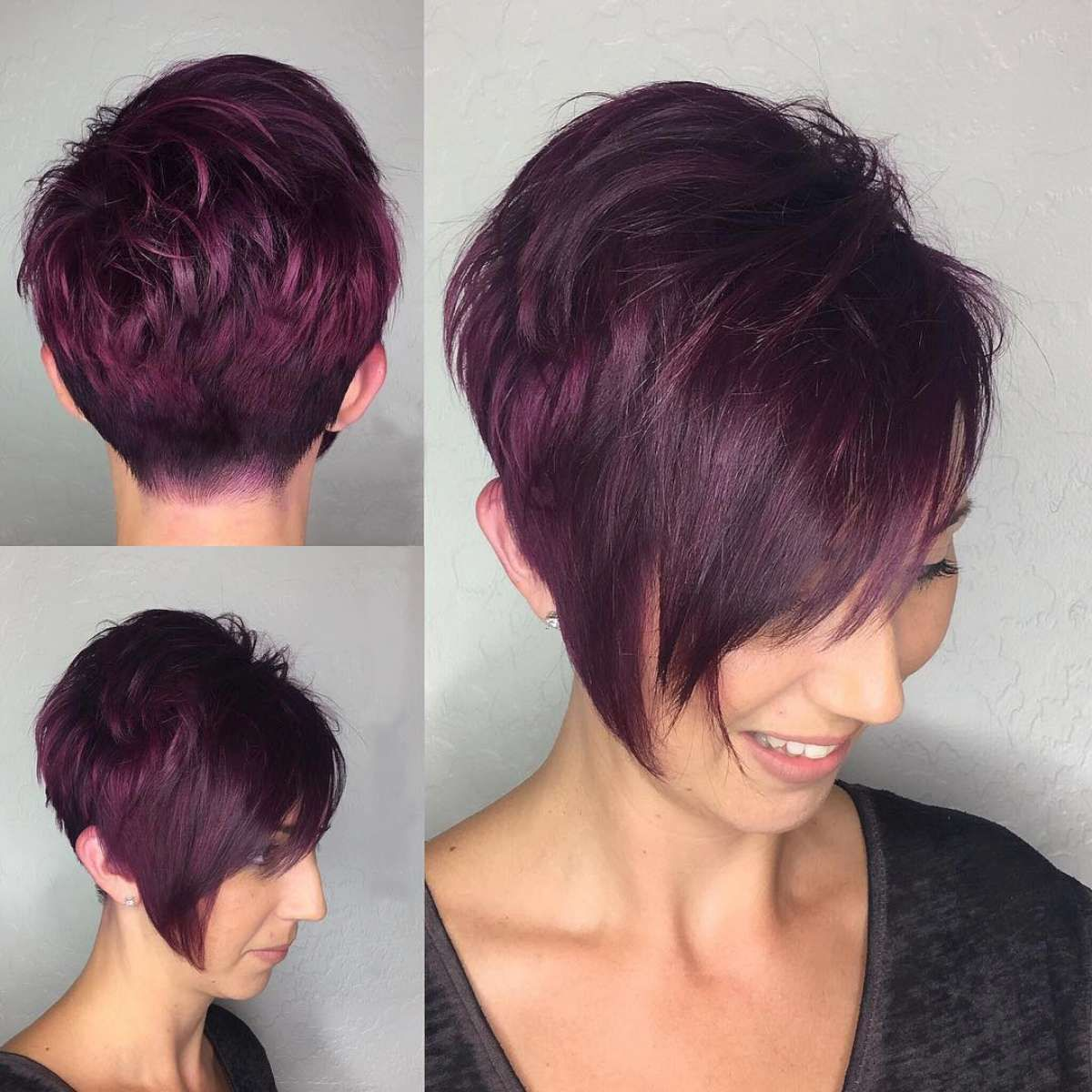 Dark Ruby Dyed Short Hairstyles 2018 Pictures