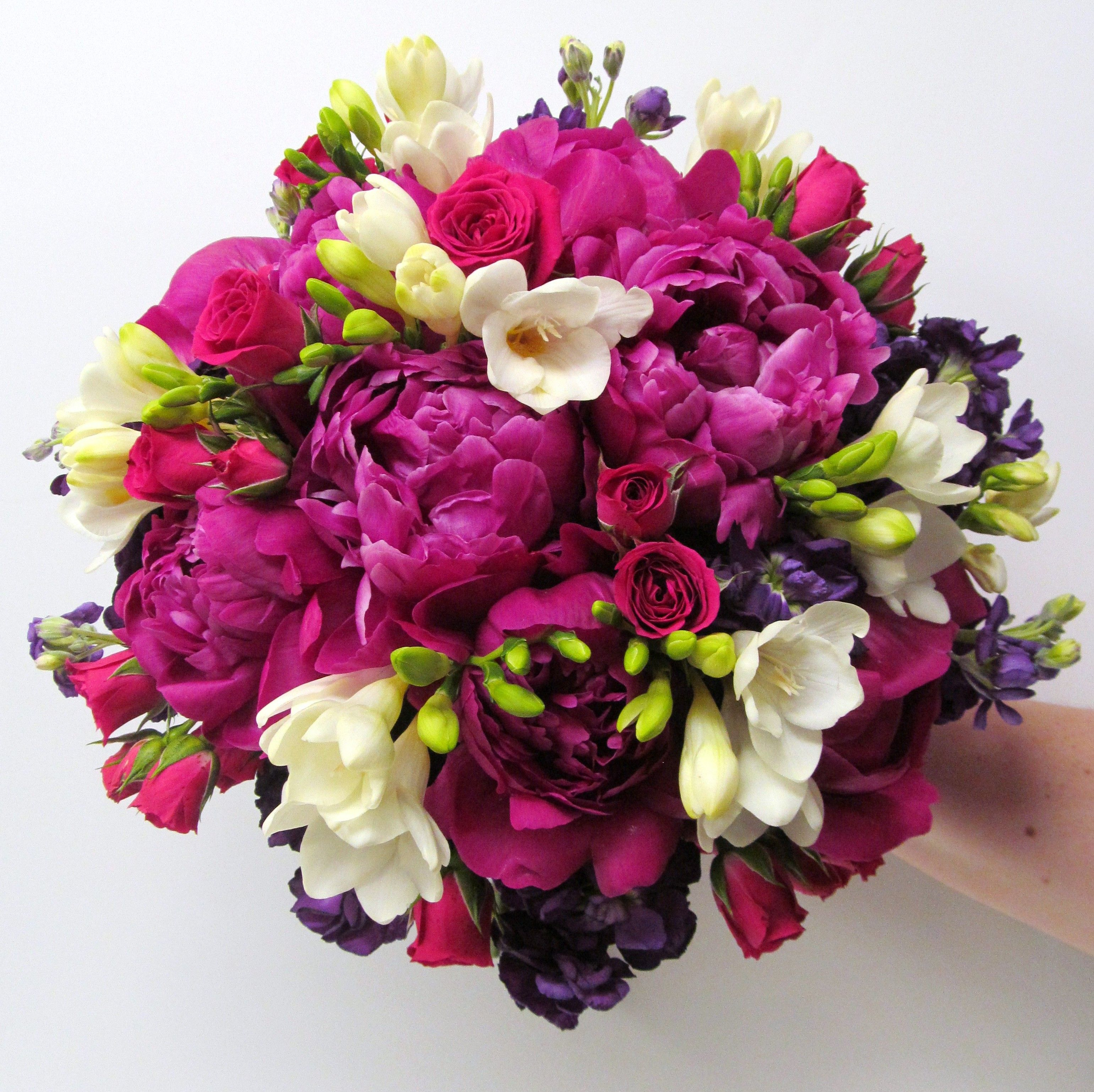 Fuchsia Bridal Bouquet By Lipinoga Florist Peonies And Spray Roses With An Accent Of Plum White Flowers Is A Stunning Combination To Carry When