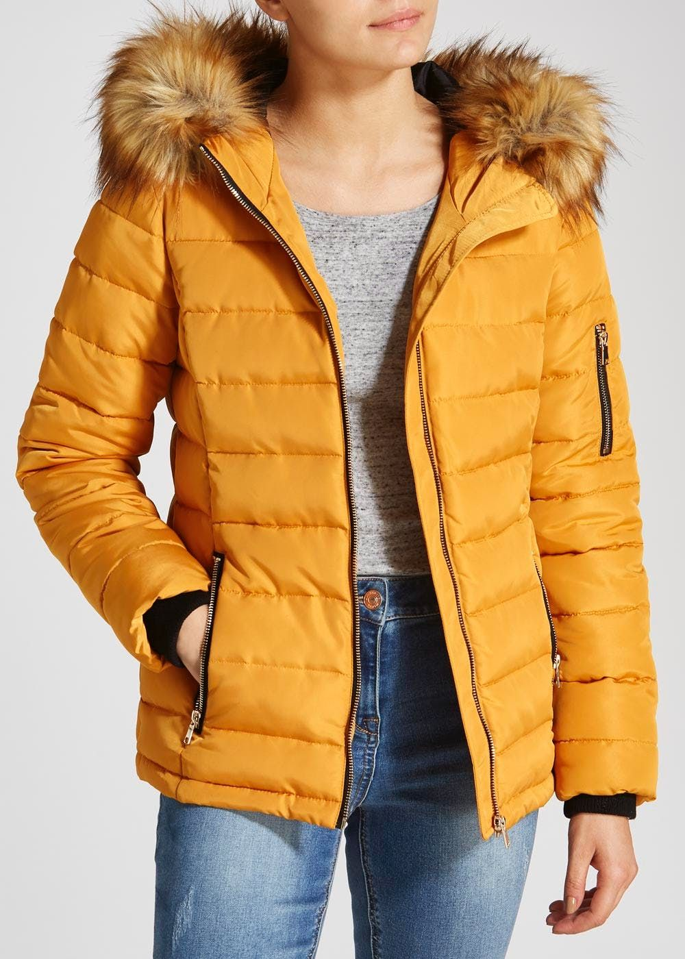 Faux Fur Hooded Short Padded Coat – Matalan | Faux fur, Short ...