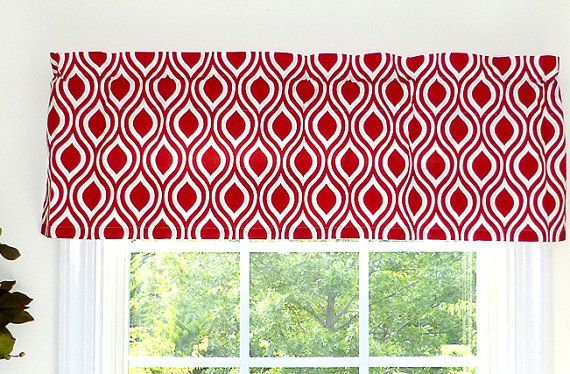 Red Window Valance  Window Valance  52 x by ThePreppyOwlBoutique