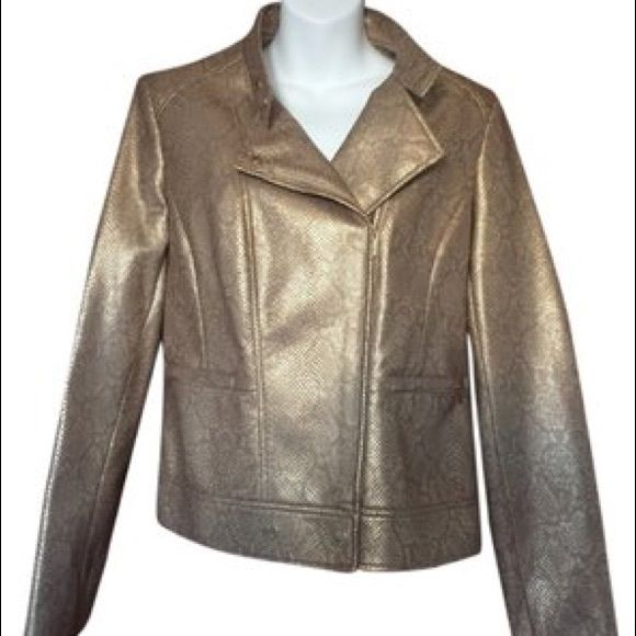 NWOT Anne Klein Size M Motorcycle Jacket Gold This is a beautiful jacket by Anne Klein size medium it is a motorcycle style jacket gold metallic with a snake print, it is faux leather.  Armpit to armpit length is 18 inches, length from shoulder down is 22 inches, sleeve length is 25 inches Anne Klein Jackets & Coats Utility Jackets