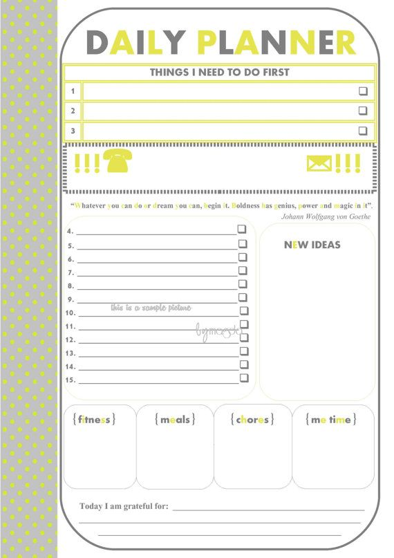 Printable Daily Planner Template ORGANIZING/FILE-O FAX Pinterest - Agenda Planner Template