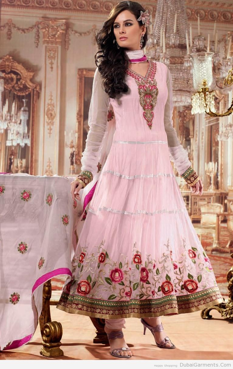 Anarkali Umbrella Frock With Churidar Pajama | Indian Fashion ...