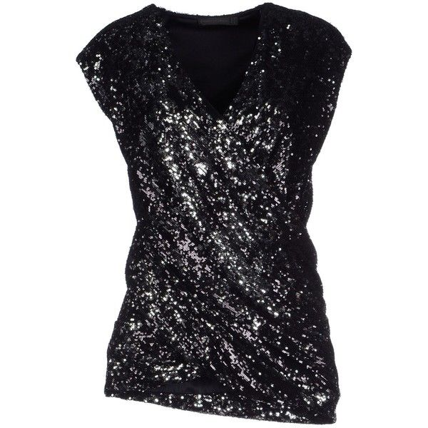 Donna Karan Top ($345) ❤ liked on Polyvore featuring tops, black, v-neck tops, sleeveless tops, sequin top, sequin sleeveless top y donna karan
