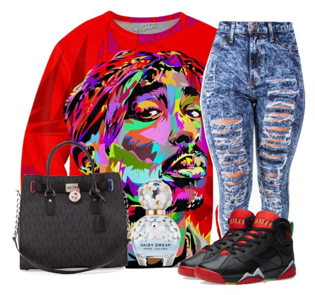"""""""Tupac"""" by chynaloggins ❤ liked on Polyvore featuring NIKE, MICHAEL Michael Kors and Marc Jacobs"""