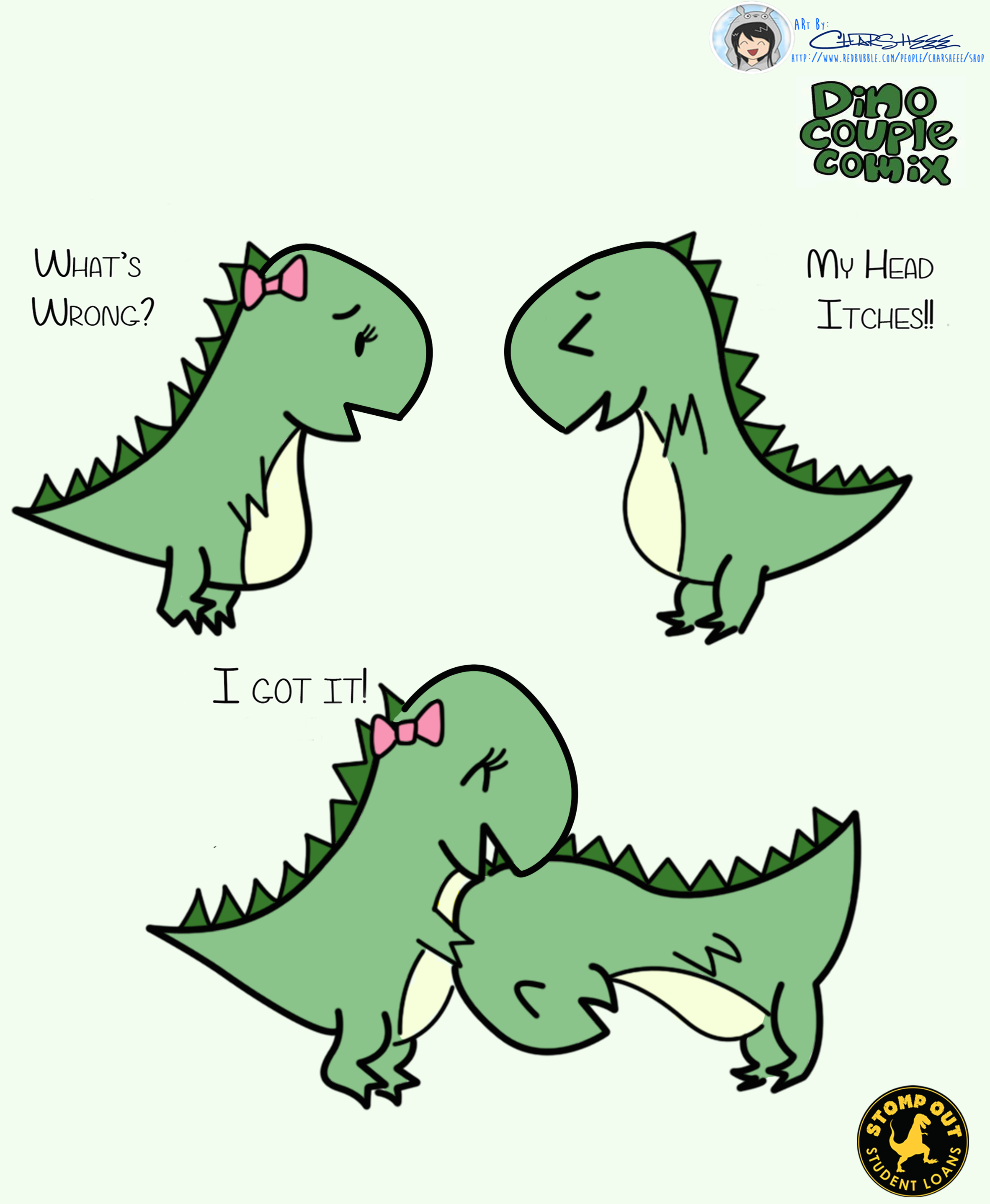 Short Arms Big Heads Lot S Of Love Artwork By Charsheee Shop Cute Dinosaur Cute Doodles Cute Puns