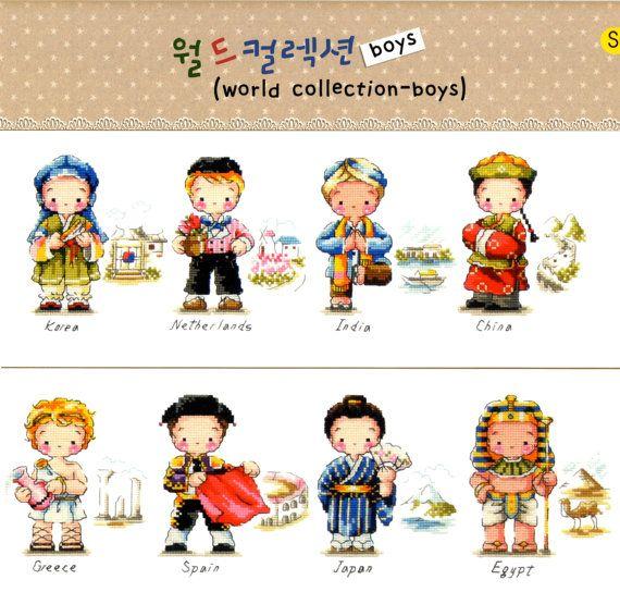 Costumi tradizionali del mondo Boys Cross di GeniesCrossstitch