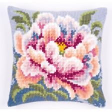 Pink Roses 1 Large Holed Tapestry Cushion Kit//Printed Chunky Cross Stitch